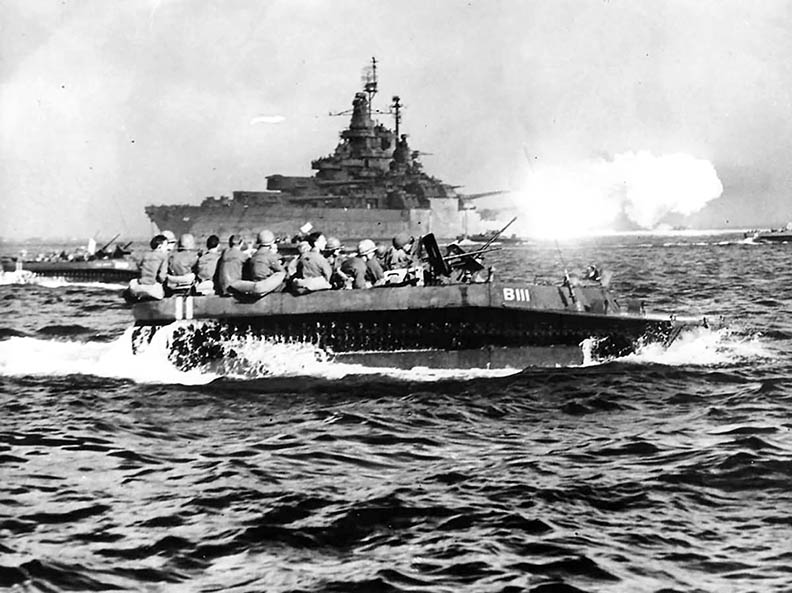 USS <em>West Virginia</em>covers troops heading to Okinawa.