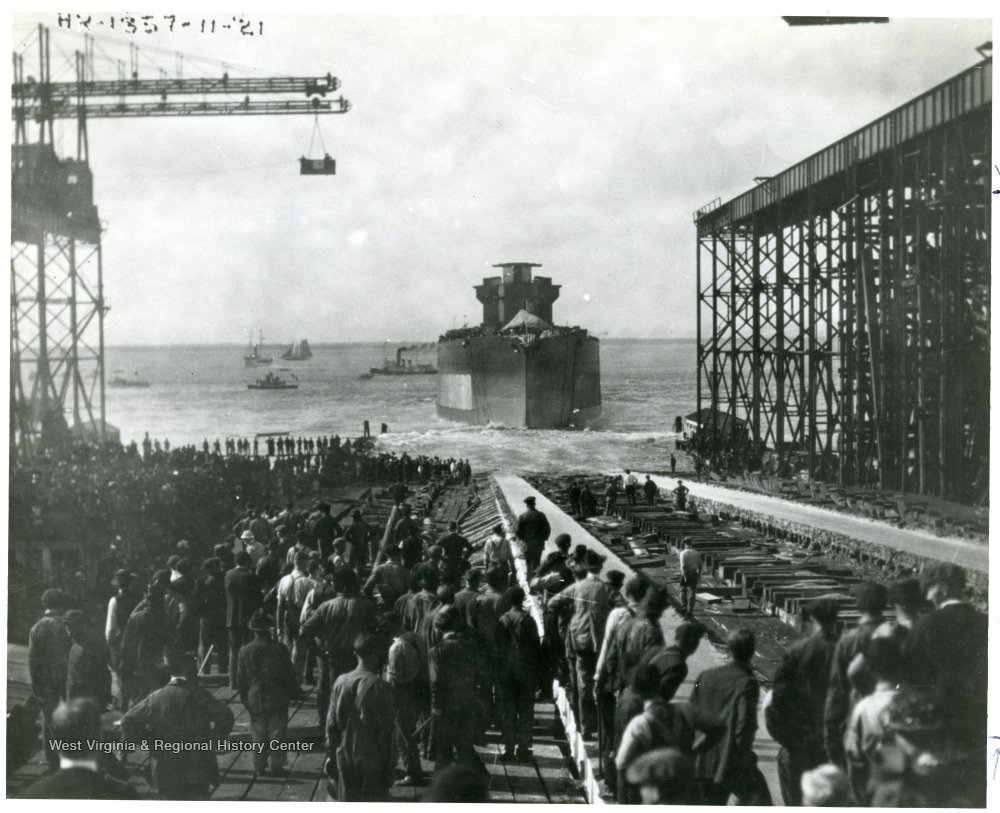 Taken at Hampton Roads Va. Photo of the U.S.S. West Virginia taken after launching.  Credit Line: Navy Department photo no. 80-CF-2058-2 in National Archives.