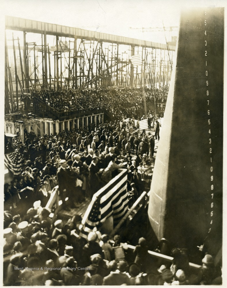 The christening of the U.S.S. West Virginia by Alice Wright Mann, daughter of a prominent West Virginian.