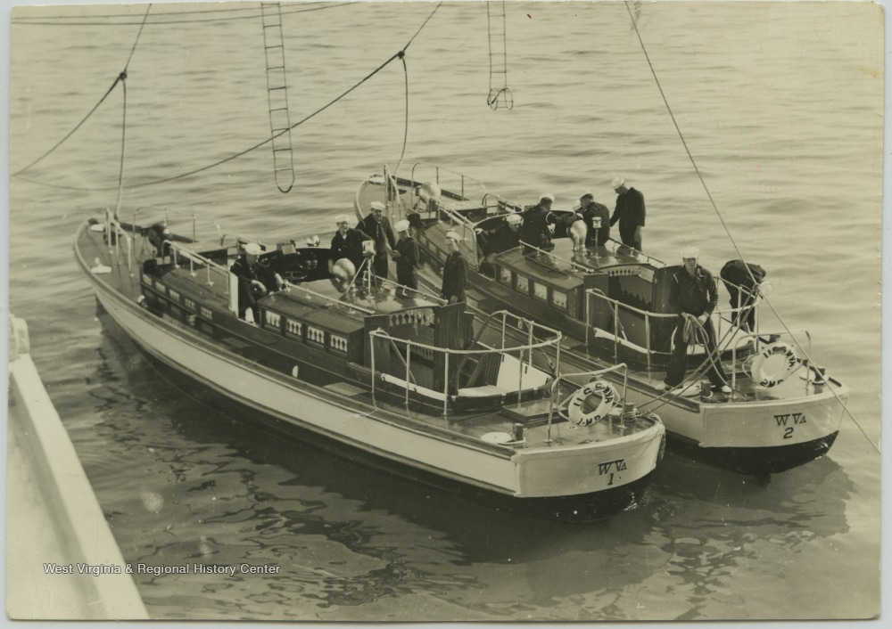 The motor boats were used to transport enlisted men to and from shore.