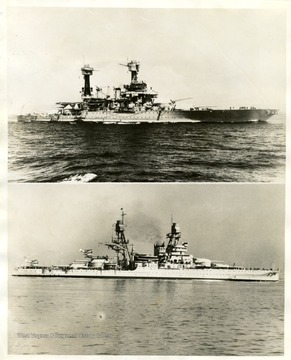 The U.S.S. West Virginia and USS Oklahoma at sea.  Text on back reads 'Official U.S. Navy photographs from C941635...Watch your credit...international news photos slug West Virginia-Oklahoma' U.S. Battleships bombed by Japs.  Washington, D.C...Two U.S. Warships, the Battleships West Virginia 'Top' and Oklahoma 'Bottom', were reported damaged or sunk in the Japanese bombing attack on the Pearl Harbor, Hawaii Naval Base. G-12-7-41-9/30PM.