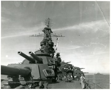 Picture of the guns of the U.S.S. West Virginia 'BB-48'. Credit Line, Navy Department, photo no. 80-G-3 39585.