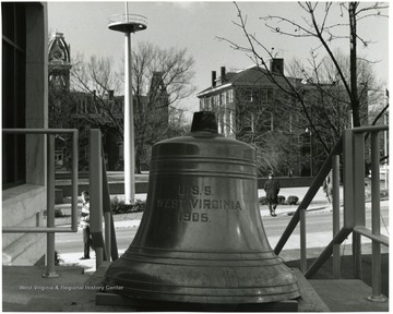 The bell from the armored cruiser and battleship U.S.S. West Virginia, which was dedicated in a ceremony.