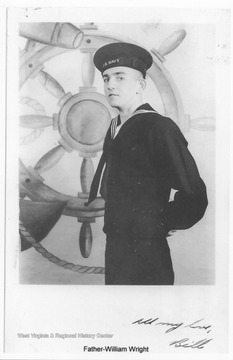 "On the photo is a message reading, ""All my love, Bill."" Photos are from an album belonging to a crew member of the U.S.S. West Virginia.  William Wright, Radio Technician 2C, was on the ship from 1944-45 and saw action at Leyte Gulf, Iwo Jima, and Okinawa."