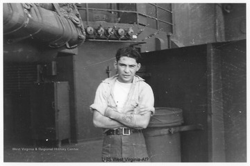 A man likely named Al is pictured on the ship. Photos are from an album belonging to a crew member of the U.S.S. West Virginia.  William Wright, Radio Technician 2C, was on the ship from 1944-45 and saw action at Leyte Gulf, Iwo Jima, and Okinawa.