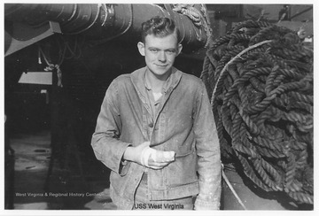 Photos are from an album belonging to a crew member of the U.S.S. West Virginia.  William Wright, Radio Technician 2C, was on the ship from 1944-45 and saw action at Leyte Gulf, Iwo Jima, and Okinawa.