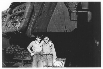 Photos are from an album belonging to a member of the U.S.S. West Virginia.  William Wright, Radio Technician 2C, was on the ship from 1944-45 and saw action at Leyte Gulf, Iwo Jima, and Okinawa.