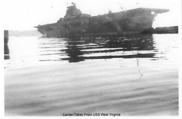 The photo was taken from the deck of the U.S.S. West Virginia. Photos are from an album belonging to a member of the U.S.S. West Virginia.  William Wright, Radio Technician 2C, was on the ship from 1944-45 and saw action at Leyte Gulf, Iwo Jima, and Okinawa.