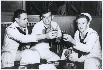 L to R: Jack Miller, Frank Kosa, Clifford Olds.Olds and 2 other crew members , Ronald Endicott and Louis Costin were trapped in a sealed compartment in the West Virginia's bow after it sank on December 7th.  Any rescue attempt meant certain death. The 3 stayed alive until December 24th according to a marked calendar found with their bodies which were recovered after the ship was raised from the harbor bottom in May, 1942.
