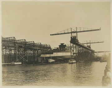 U.S.S. West Virginia in dry dock, likely in Newport News, Va. during construction.  The keel was laid down in April 1920, and the ship was launched in November 1921.